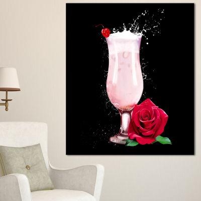 Designart Strawberry Cocktail And Red Rose FloralCanvas Art Print