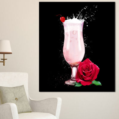 Designart Strawberry Cocktail And Red Rose FloralCanvas Art Print - 3 Panels