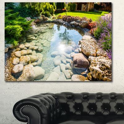 Designart Stream In Rocky Landscape Landscape Canvas Art Print - 3 Panels