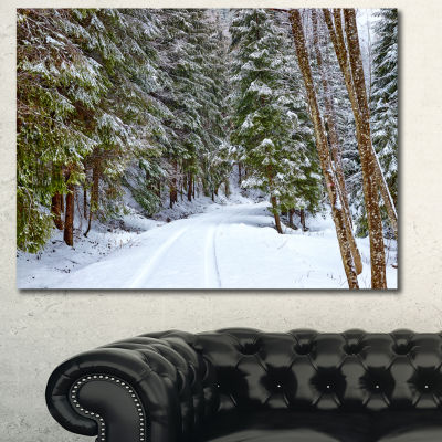 Design Art Snowy Road In The Forest Landscape Canvas Art Print - 3 Panels