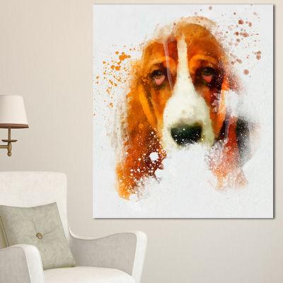 Designart Sober Brown Dog Portrait Oversized Animal Wall Art