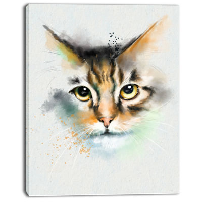 Designart Strong Look Of Cat Watercolor Sketch Large Animal Canvas Artwork