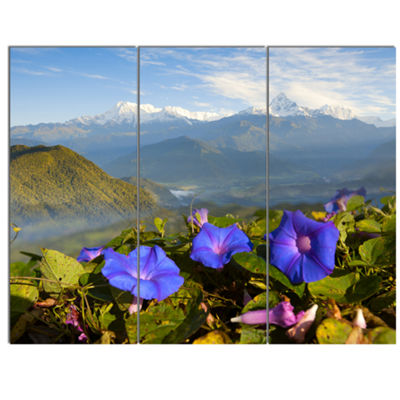 Designart Stunning Mountain Terrain With FlowersLandscape Canvas Art Print - 3 Panels