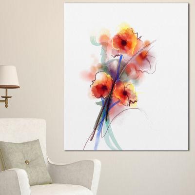 Designart Soft Color Flowers On White Background Large Floral Canvas Art Print - 3 Panels