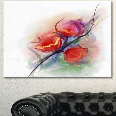 Designart Soft Floral Watercolor On Splashes LargeFloral Canvas Art Print - 3 Panels