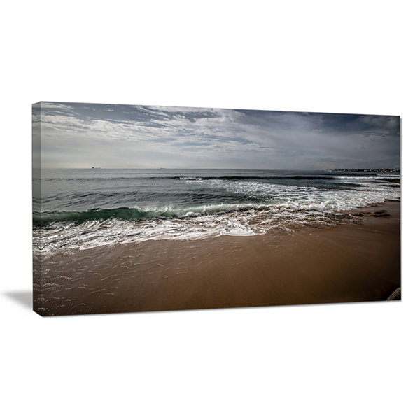 Designart Soft Waves Of Sea On Sandy Beach Seashore Canvas Art Print