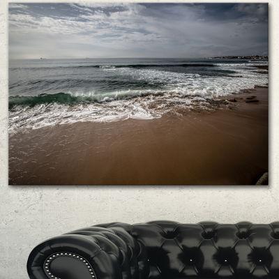 Designart Soft Waves Of Sea On Sandy Beach Seashore Canvas Art Print - 3 Panels