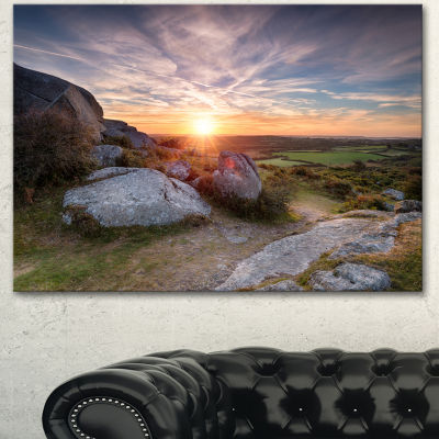 Design Art Stunning Sunrise Over Countryside Seashore Canvas Art Print - 3 Panels