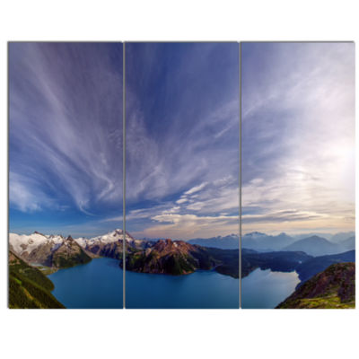 Designart Stunning View Of Clear Lake Extra LargeLandscape Canvas Art Print - 3 Panels