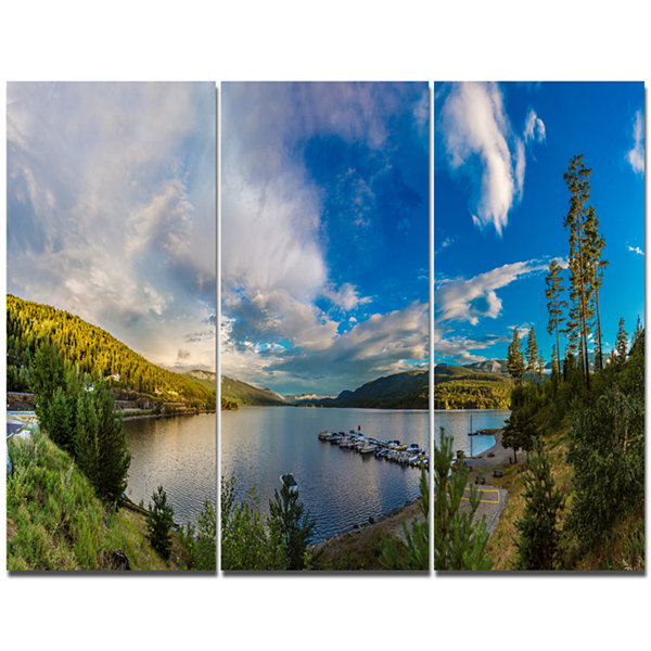 Designart Sognefjord In Norway Panorama LandscapeCanvas Art Print - 3 Panels