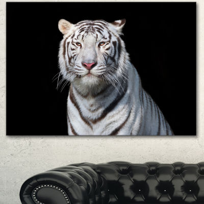 Designart Stunning White Bengal Tiger Abstract Canvas Art Print - 3 Panels