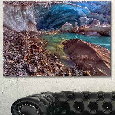 Designart Stylish And Colorful Glacier Cave Landscape Canvas Art Print - 3 Panels