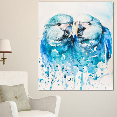 Designart Spix S Macaw Watercolor Abstract CanvasArt Print - 3 Panels