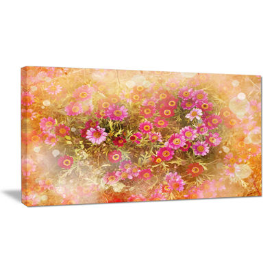 Designart Spring Background With Little Flowers Large Floral Canvas Artwork