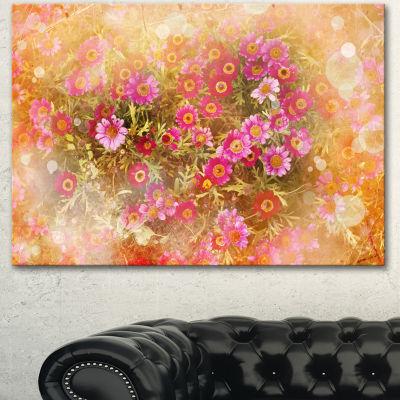 Designart Spring Background With Little Flowers Large Floral Canvas Artwork - 3 Panels