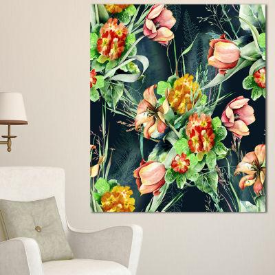 Designart Spring Floral Seamless Pattern Floral Canvas Art Print - 3 Panels