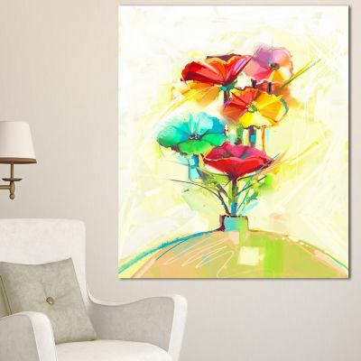Design Art Spring Flowers Bouquet In A Vase LargeFloral Canvas Art Print - 3 Panels