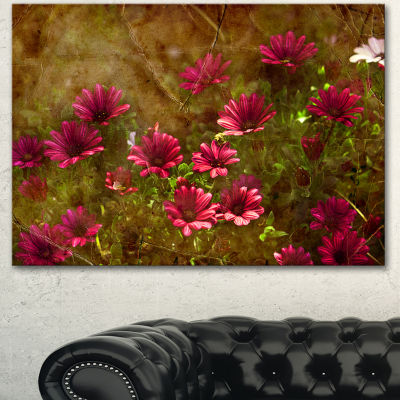 Designart Spring Garden With Little Red Flowers Large Floral Canvas Artwork