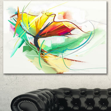 Designart Still Life Of Yellow Red Color Flower Large Floral Canvas Art Print
