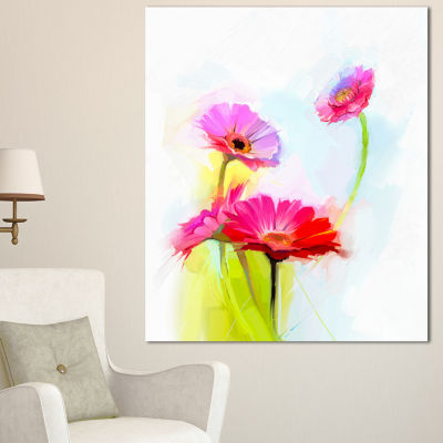 Design Art Still Life Cute Red Gerbera Flowers Large Floral Canvas Art Print - 3 Panels