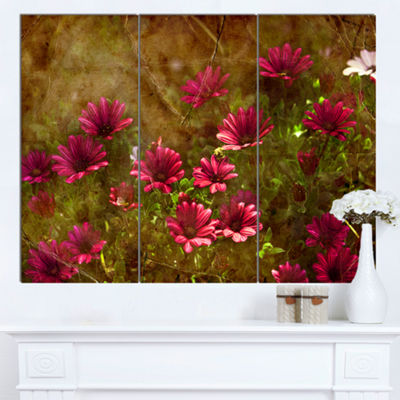 Designart Spring Garden With Little Red Flowers Large Floral Canvas Artwork - 3 Panels