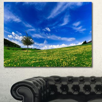Designart Spring Landscape Green Fields LandscapeCanvas Art Print