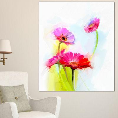 Designart Still Life Cute Red Gerbera Flowers Large Floral Canvas Art Print