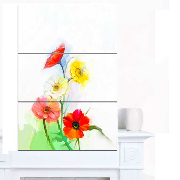 Designart Still Life Colored Gerbera Flowers LargeFloral Canvas Art Print - 3 Panels