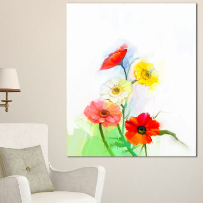Design Art Still Life Colored Gerbera Flowers Large Floral Canvas Art Print
