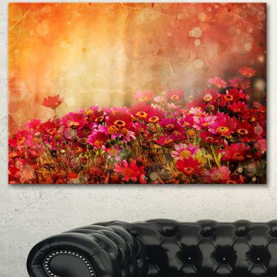 Design Art Spring Little Flowers At Sunset Large Floral Canvas Artwork - 3 Panels