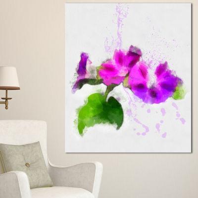 Designart Stem Of Convolvulus Flower Drawing Floral Canvas Art Print - 3 Panels