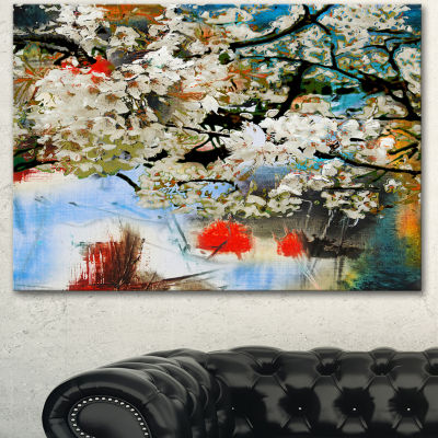 Designart Spring Motif With Small White Flowers Extra Large Floral Wall Art - 3 Panels