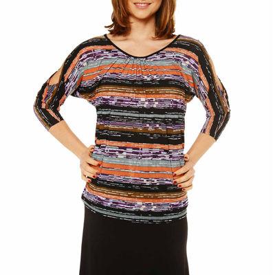 24/7 Comfort Apparel Earthy Stripe Tunic Top