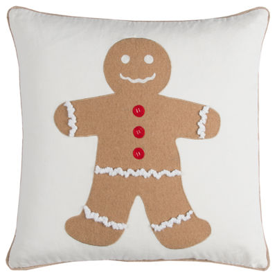 Rizzy Home Avery Gingerbread Man Holiday Pillow