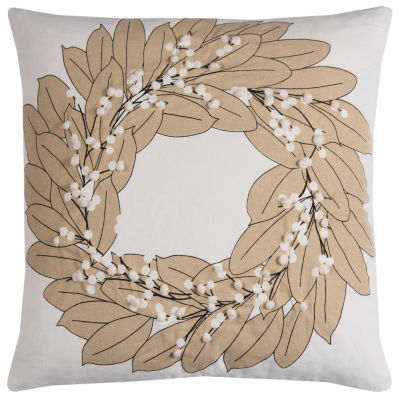 Rizzy Home Sofia Wreath Holiday Pillow