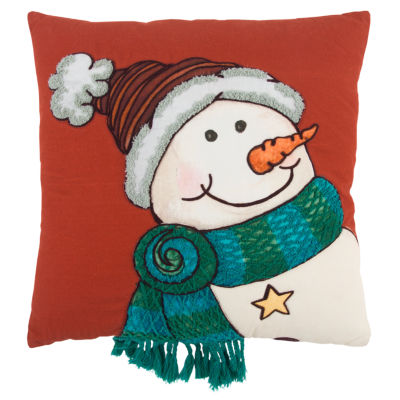 Rizzy Home Aubrey Snowman Holiday Pillow
