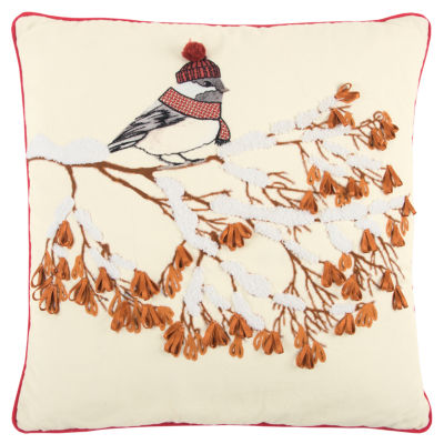 Rizzy Home Maya Winter Bird Holiday Pillow
