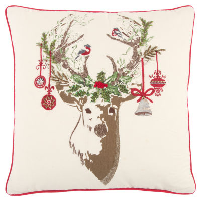 Rizzy Home Lillian Christmas Deer Holiday Pillow
