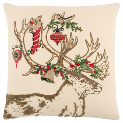 Rizzy Home Lucy Christmas Deer Holiday Pillow