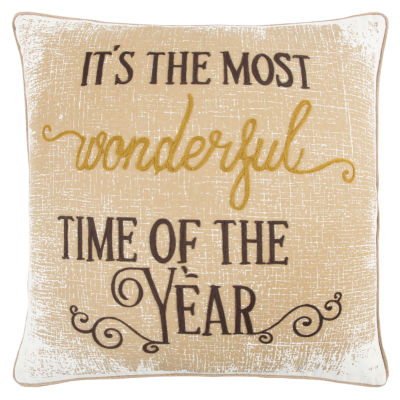 Rizzy Home Logan It'S The Most Wonderful Time Of The Year Holiday Pillow