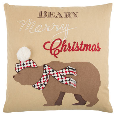 Rizzy Home Grace Snow Bear Holiday Pillow