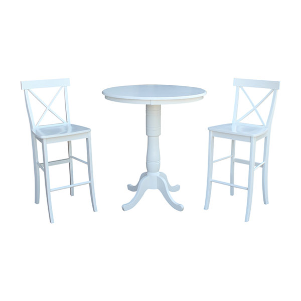 International Concepts Round Bar Table with X-Back Bar Stool