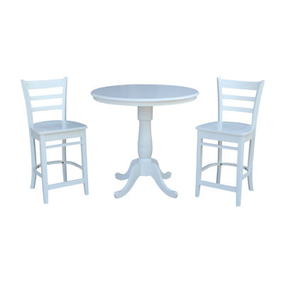 International Concepts Round Gathering Height Table with Counter Height Stools