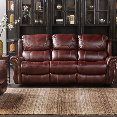 Stanley Mahogany Leather Gel Recliner Loveseat