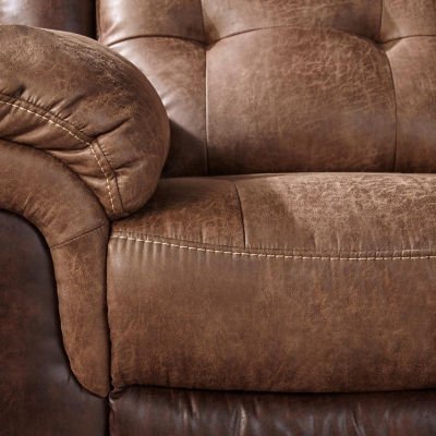 Sheffield Two-Tone Fabric Recliner Sofa in Brown Mocha