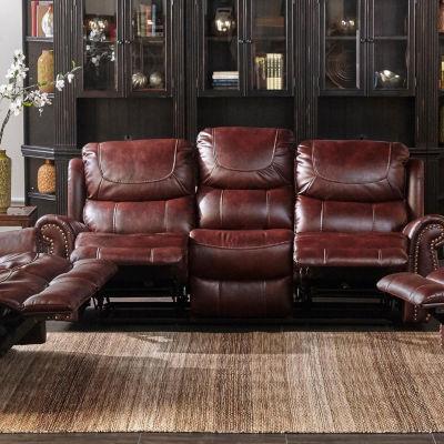 Stanley Mahogany Leather Gel Recliner Sofa
