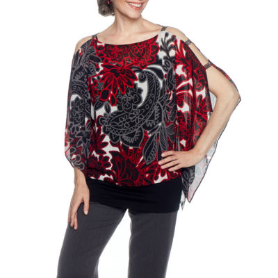 Lark Lane Well Red Cold Shoulder Georgette Blouse