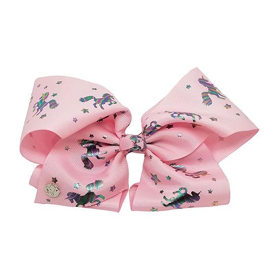 JoJo Siwa Large Signature Hair Bow w/Iridescent Unicorns Light Pink