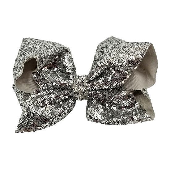 JoJo Siwa Large Signature Hair Bow w/Sequins Silver Hologram