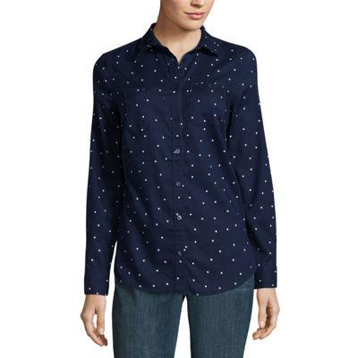 St. John's Bay Sjb Long-Sleeve Brushed Twill Shirt Long Sleeve Camp Shirt